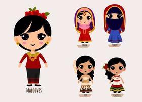 conjunto de personas en ropa tradicional de américa del sur personajes de dibujos animados vector