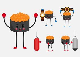 Set of sushi mascot in different acting characters flat vector