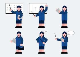 Set of female teacher in cartoon characters flat vector