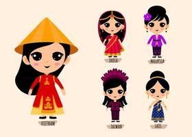 Conjunto de mujer en personajes de dibujos animados de ropa tradicional asiática vector