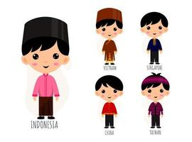 Set Of Male In Traditional Asian Clothing cartoon characters vector