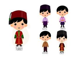 Set Of Man In Traditional Asian Clothing cartoon characters vector
