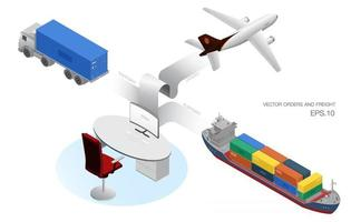 Isometric logistics flat vector concept. ordering and exporting., containers Ship cargo, maritime shipping air cargo and vehicles for cargo transport, 3d illustration, 3d rendering