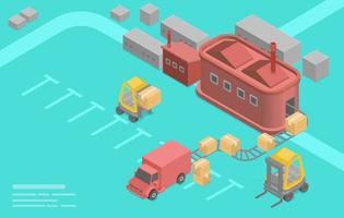 Isometric logistics flat vector concept.