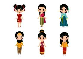 Set Of woman In Traditional Asian Clothing cartoon characters vector