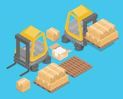 Isometric forklift for raising and transporting goods., storage racks.,pallets with goods for infographics, 3d illustration, 3d rendering vector