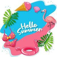 Hello Summer logo banner with beach items vector