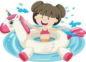 Cute girl with unicorn swimming ring in the water isolated vector