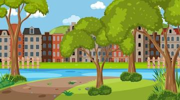 Empty park in the town scene at day time vector