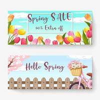 Spring sale banner template with colorful flower and bicycle. Can be use voucher, wallpaper,flyers, invitation, posters, brochure, coupon discount. vector