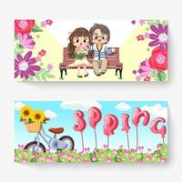 Sweet couple sitting on bench vector illustration. Blooming flowers outdoors flat style. Couple sitting on bench. spring background.