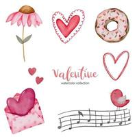 Valentines Day set elements envelope, sunflower, donut, gift and more. Template for Sticker kit, Greeting, Congratulations, Invitations, Planners. Vector illustration
