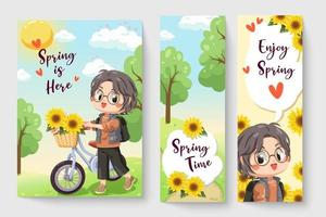 Little boy riding a bicycle in spring theme illustration for kids fashion artworks, children books, prints, t shirt graphic. vector