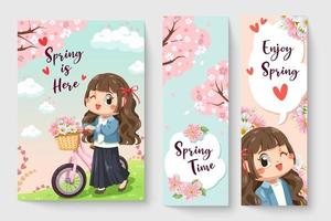 Sweet girl riding a bicycle in spring theme illustration for kids fashion artworks, children books, prints, t shirt graphic. vector