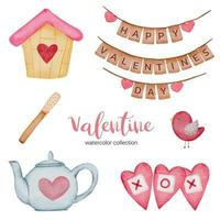Valentines Day set elements, teapot, small house, bird, and more. vector