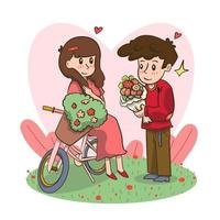 man holding flowers proposing to woman to marry him happy valentines day concept young couple in love marriage offer greeting card. vector