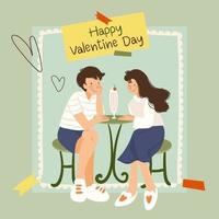 Couple sitting in a chair on a date, Valentine's Day, the inscription by hand be my Valentines. Vector illustration