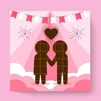 Couple in love embraces standing with their backs to the viewers. Vector isolated illustration with texture. Cartoon characters for the feast of Saint Valentine