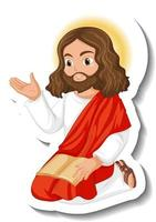 Jesus Christ cartoon character sticker on white background vector