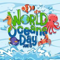 World Ocean Day banner with many different sea animals vector