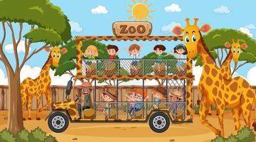 Safari en la escena diurna con muchos niños viendo un grupo de jirafas. vector