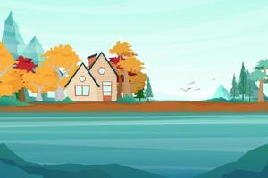 Best nature location with house and  Mountain lake landscape vector illustration