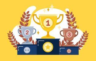 podio de ganadores con copas. premios para los campeones. Copas de oro, plata y bronce. ilustración vectorial en estilo plano. vector