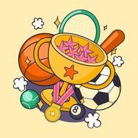 pelotas de deportes realistas, murciélagos y otros equipos vector gran conjunto aislado en un fondo. Ilustración de fútbol y béisbol, fútbol tenis y más.