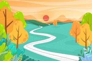 Nature landscape cartoon scene with tourist adventure vector
