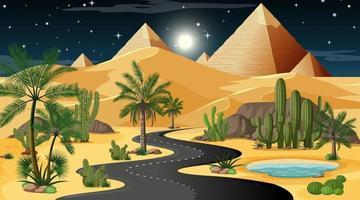 Desert night time road scene vector