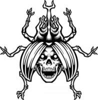 Death beetle skull illustration Silhouette vector