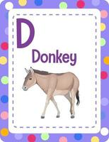 Alphabet flashcard with letter D for Donkey vector