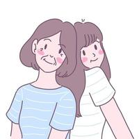 Two young women happily collided with their backs. vector