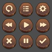 Dark set of game stone button elements and progress-bar, bright and different forms of buttons for games and app. vector