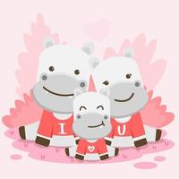 Cute Valentine's illustration cow and calf red and gray, sitting on the forest. Vector with animals in valentine days celebrations .