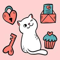 Cat feeling love and chilled. With envelope, cake, locker and key for valentine celebration. vector
