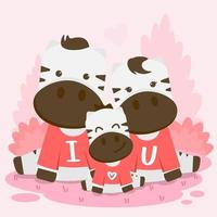 Cute Valentine's illustration cow and calf, sitting on the forest. celebrations vector with animals in valentine days.
