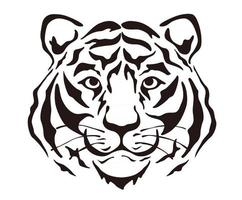 Vector Tiger Head Silhouette Illustration Isolated On A White Background.