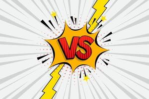 Versus VS letters fight white backgrounds in flat comics style design with halftone, lightning. Vector illustration