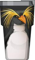 A black thermos flask with penguin pattern vector