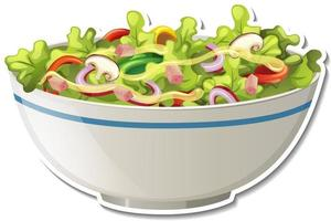 Salad bowl sticker on white background vector