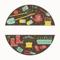 Garden supplies for planting plants round composition vector