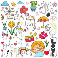 Hand drawn doodle set of objects and symbols on Celebration, birthday and decoration theme. Vector illustration.