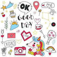 Hand drawn doodle set of objects and symbols of good day, birdsy day and decoration theme. Vector illustration.