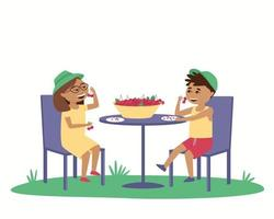 Children eat ripe cherries at a table outside vector