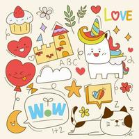 Hand drawn elements of character, animal and vector element on a light white background. Vector illustration.