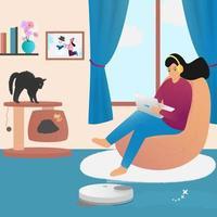 trabajo de casa a los ojos de una mujer moderna. aspiradora robótica vector
