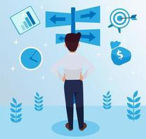 Serious, hardworking employee standing on the middle side , facing backward, holding his waist illustration, marketing strategy with graphs and symbols. Leadership vector
