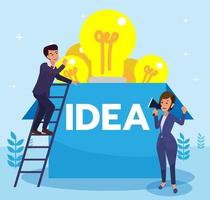 Business man searching for creative idea inspired by his boss. Business man climbing to find an idea above the box. Flat design vector illustration