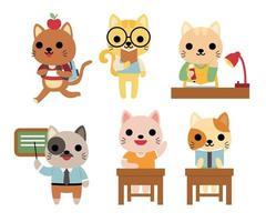 gran conjunto de animales aislados. colección de vectores de actividad, escuela, estudio, enseñanza, animales divertidos. gato de animales lindos en estilo de dibujos animados.